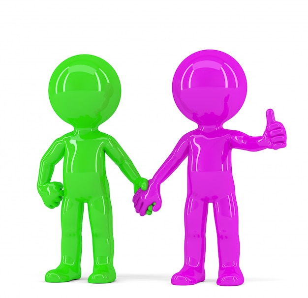 Пара держась за руки разноцветных людей