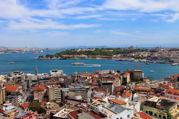 Панорамный вид на город стамбул с галатской башни на европейскую часть города.