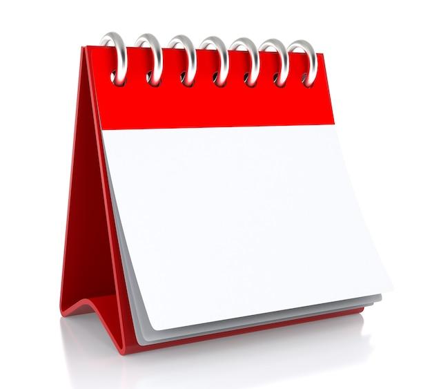 На столе стоит бумажный белый календарь. изолированные на белом фоне - 3d иллюстрации