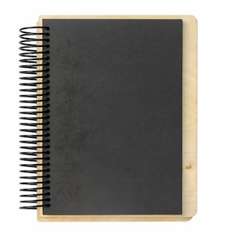 白で隔離の紙の木製クラフトスパイラルメモ帳