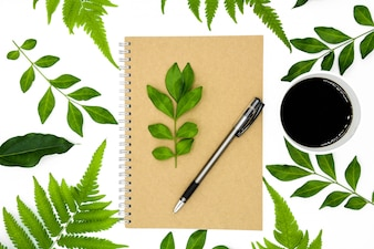 A pen on a book with green leaf isolated on white background