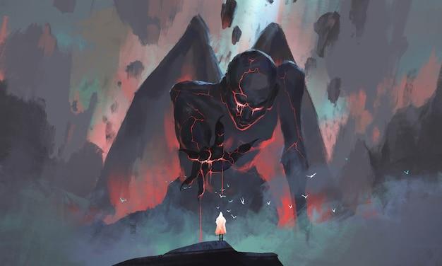 Человек сталкивается с монстром, поднимающимся из иллюстрации руин.