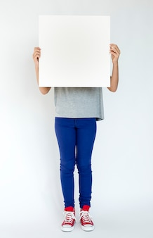 A person holding a white board