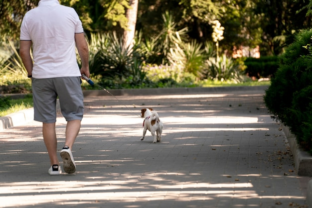 야외에서 애완 동물과 함께 산책하는 애완 동물 소유자