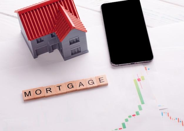 住宅ローンチャートとタイトル住宅ローンの電話と家