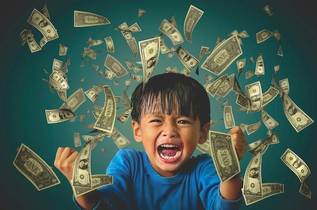 떠다니는 달러와 함께 행복한 분위기를 보여주는 소년의 사진. 행운과 승리의 개념 프리미엄 사진