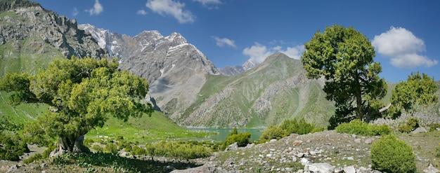 夏の日のタジキスタンのファン山地の美しい渓谷