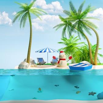 Кусок тропического острова со снеговиком с пальмами и лодкой в океане. концепция релаксации. 3d иллюстрация