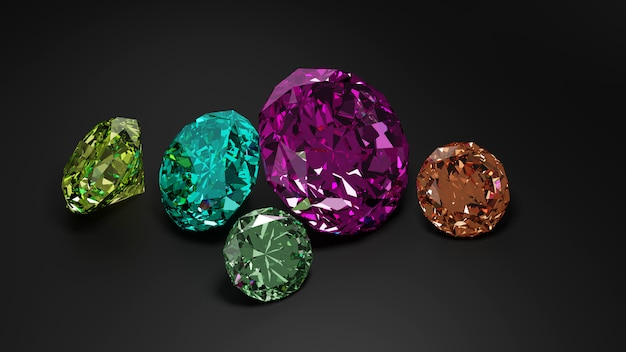 Куча красочных алмазов на темном фоне.