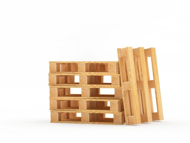 Куча пустых деревянных поддонов, сложенных вертикально и горизонтально