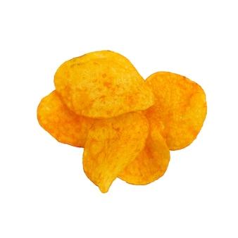 흰색 배경에 고립 된 감자 칩 더미