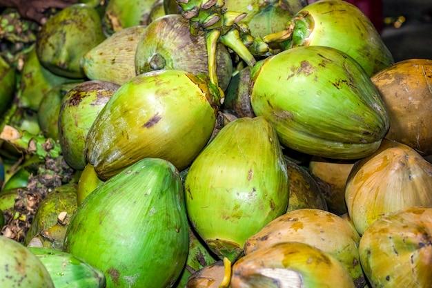 시장에서 젊은 생 코코넛 더미를 닫습니다.