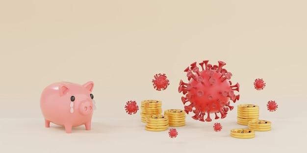 Розовая копилка плачет из-за того, что ее захватил коронавирус covid-19, область с золотыми монетами на белом фоне - 3d-рендеринг