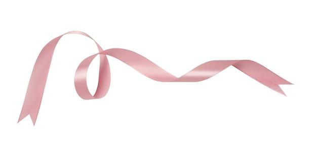 Розовые ленты, изолированные на белом фоне с обтравочным контуром.