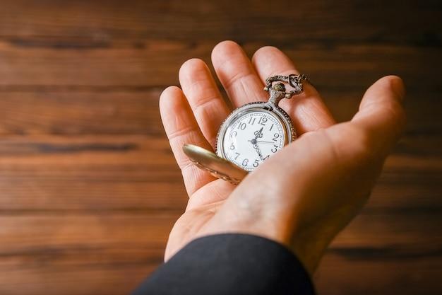 Карманные часы в руках мужчины