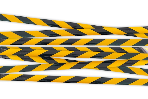 警察の注意ラインエリア、交差しないでください、セキュリティ警告黒と黄色のタブ