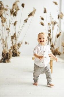 葦と白い背景の上の小さな陽気な男の子の肖像画