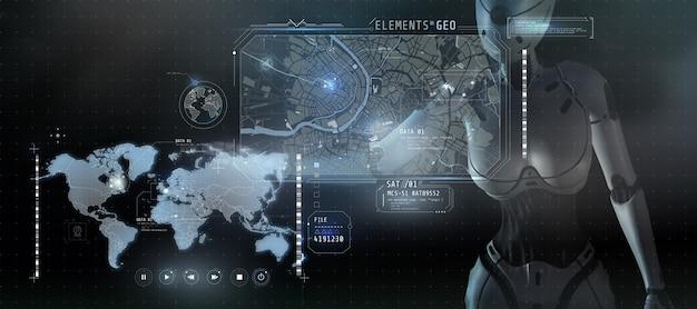 추적 기술 및 검색 엔진에 대한 포스터 3d 렌더링