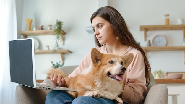 노트북을 사용 하 고 귀여운 강아지를 쓰다듬어 예쁜 여자. 평온하고 행복한 여자.