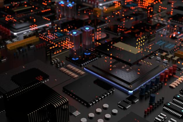 マザーボード上のプロセッサチップは、未来の都市を抽象化したマイクロチップ、プロセッサ、その他のコンピュータ部品を備えたプリント回路基板です。