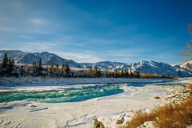 맑은 서리가 내린 날에 눈과 푸른 하늘로 덮여 산봉우리를 배경으로 눈 덮인 은행 사이의 성난 강물. 멋진 겨울 파노라마.