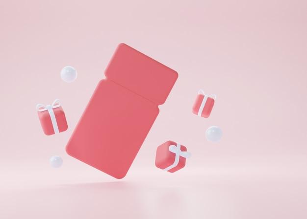 분홍색 배경에 날아다니는 선물이 있는 빨간색 빈 쿠폰. 3d 렌더링 그림입니다.