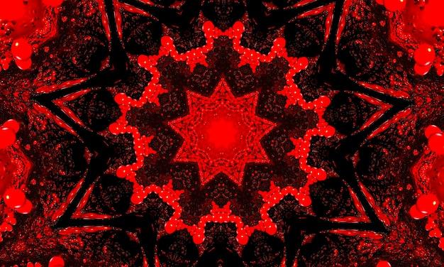 붉은 빛나는 꽃 만화경 패턴 배경