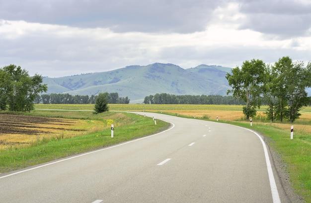 Региональная дорога в сельской местности в степи на фоне зеленых холмов под пасмурным небом. сибирь, россия