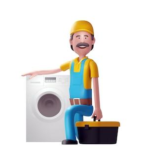 Ремонтник позирует рядом со стиральной машиной. 3d иллюстрация