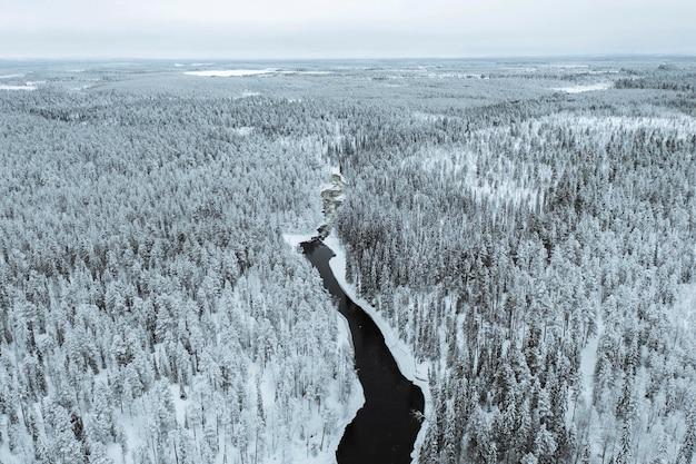 フィンランドのオウランカ国立公園の冬の川。