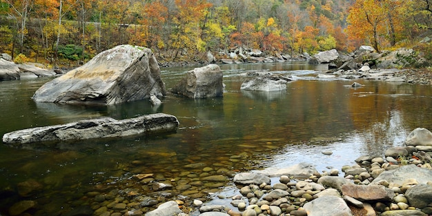 秋の山々に石のある川