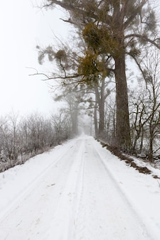 Дорога, покрытая снегом в зимний период