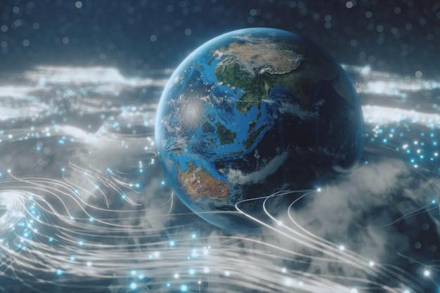 Вращающийся земной шар в облаках из оптического волокна, передающий сигналы по всей вселенной