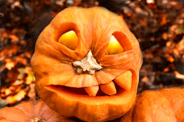 Страшное лицо фонаря джека, вырезанное на тыкве к хэллоуину с огненными глазами день всех святых