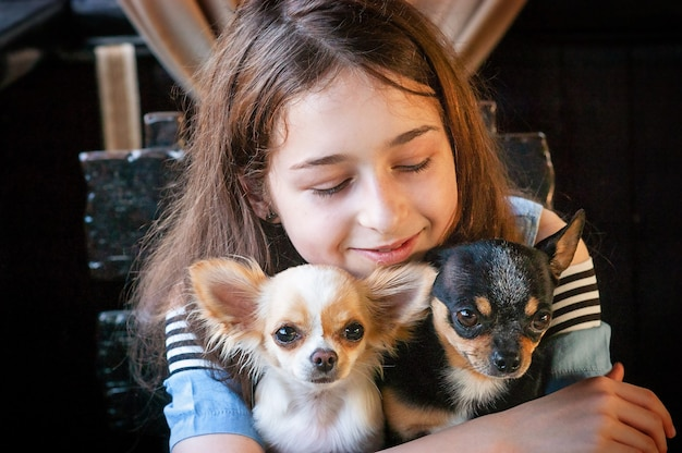 学齢期の女の子が白黒のチワワを抱きしめる。カフェや家で犬と一緒にいる 10 代の少女