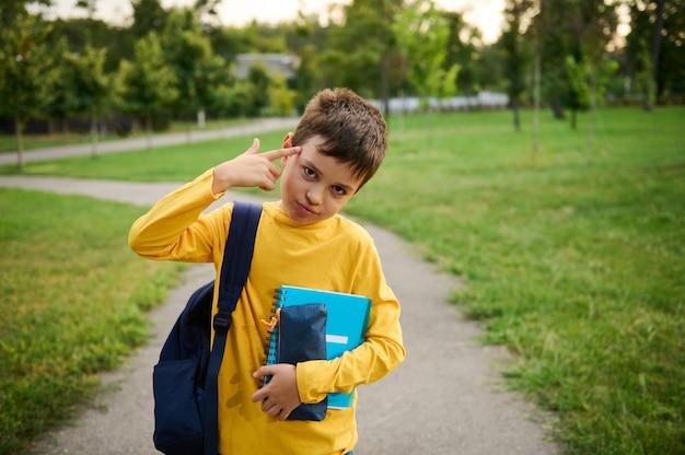 한 남학생이 피곤한 눈으로 카메라를 보며 손을 관자놀이로 가져오고 도시 공원을 배경으로 힘든 학교 하루를 보낸 후 피곤하다는 표시로 총을 모방합니다.