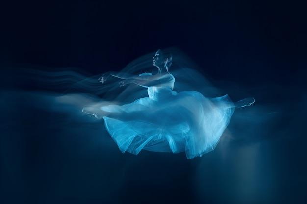 베일을 통한 아름다운 발레리나의 관능적이고 정서적 춤