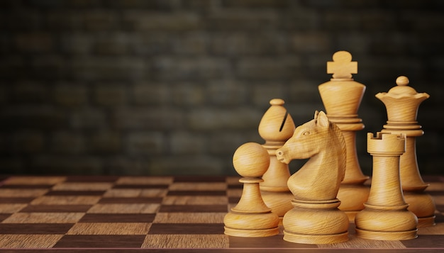 Набор ярких деревянных шахматных фигур на шахматной доске на фоне кирпичной стены. концепция планирования бизнес-стратегии. скопируйте место для текста или статьи. 3d визуализация иллюстрации.
