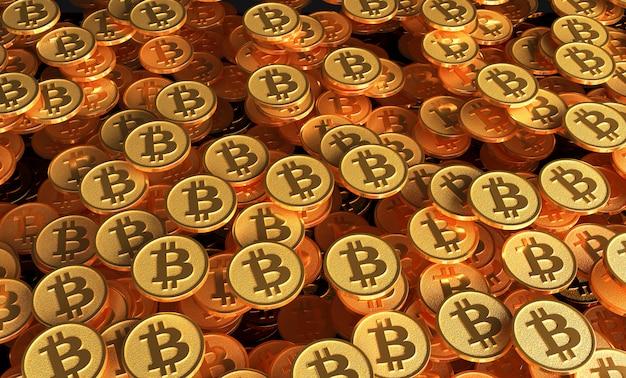 비트 코인 로고 이미지가있는 동전 세트