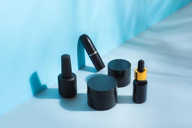 블랙 색상, 다양한 크기의 화장품 패키지 세트
