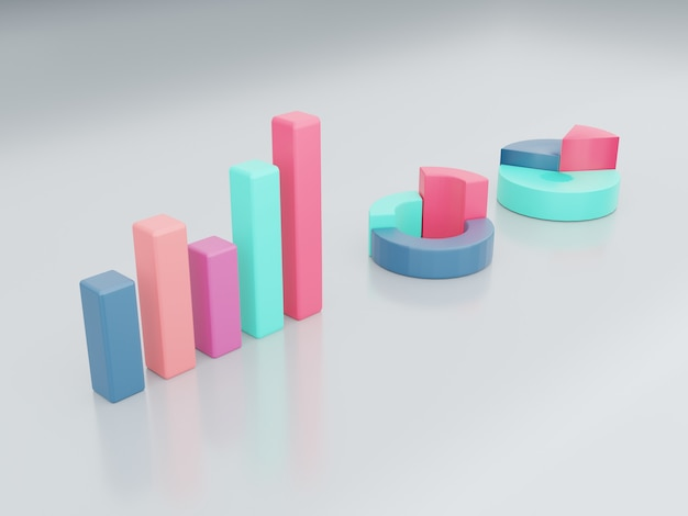 プレゼンテーション改善マーケティングdイラストレンダリングの3次元のグラフのセット
