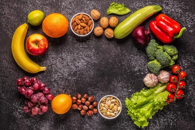 채식주의자 및 채식주의자 요리를 위한 제품 세트, 최고 전망.