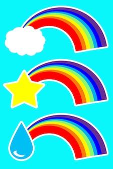 紫色の背景に虹と水滴、雲と星のステッカーのセット