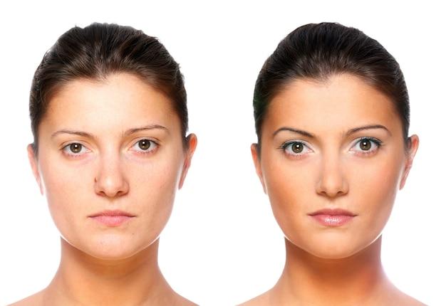 Набор из двух портретов одной и той же молодой женщины, один до и после нанесения макияжа.