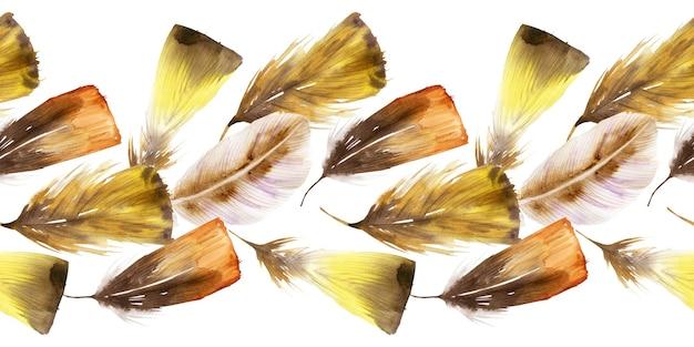 Набор акварельных бесшовных бордюров с перьями и ловцами снов