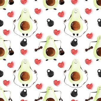 Набор акварельных бесшовных узоров с персонажами авокадо