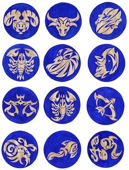 Набор знаков зодиака золотые знаки зодиака на синем фоне