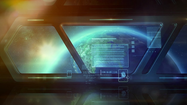 Корабль на орбите и инфографика