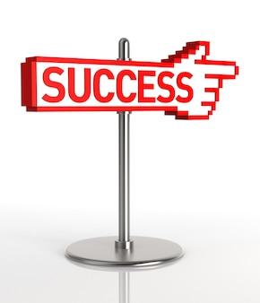 Знак, указывающий на путь к успеху. цифровое изображение. 3d-рендеринг