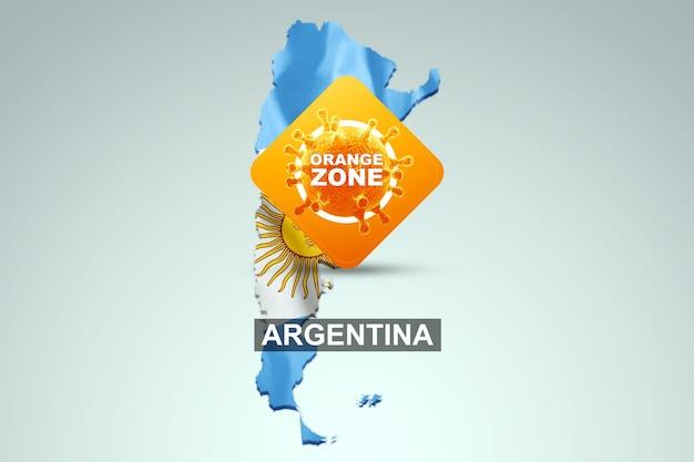 Знак с надписью оранжевая зона на фоне карты аргентины с аргентинским флагом. оранжевый уровень опасности, коронавирус, изоляция, карантин, вирус. 3d визуализация, 3d иллюстрации.